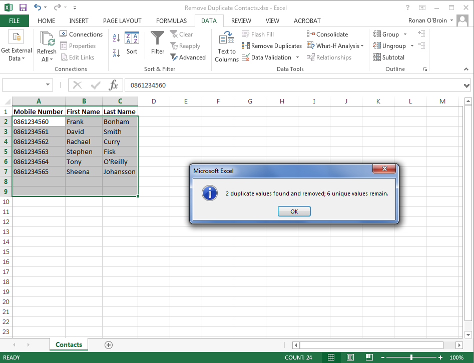 Excel Remove Duplicates 3